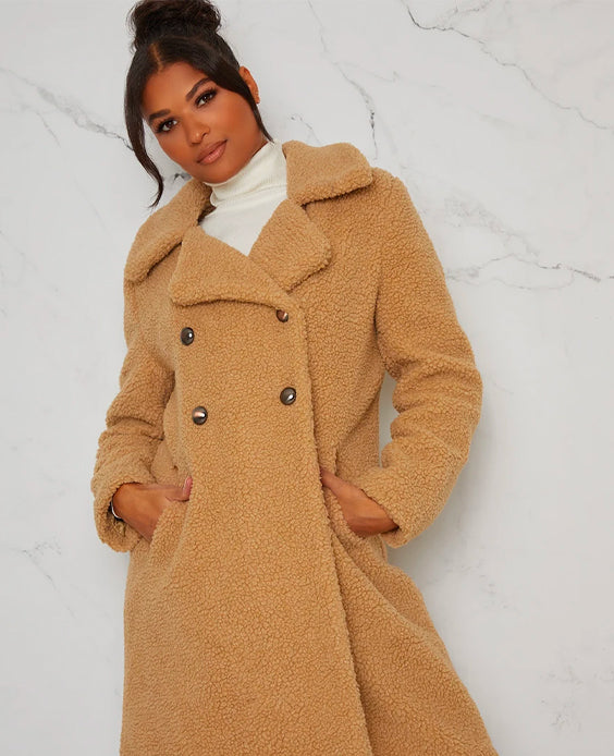 Faux Fur Teddy Double Breasted Coat