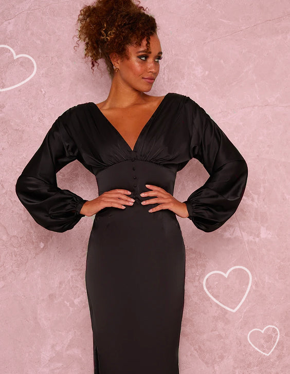 V Neck Puff Sleeved Satin Look Midi Dress