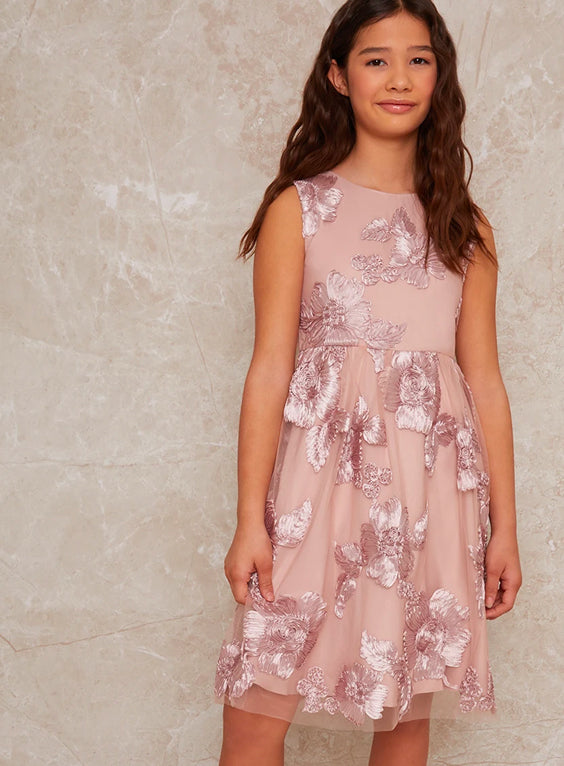 Girls Sleeveless Floral Embroidered Midi Dress in Pink