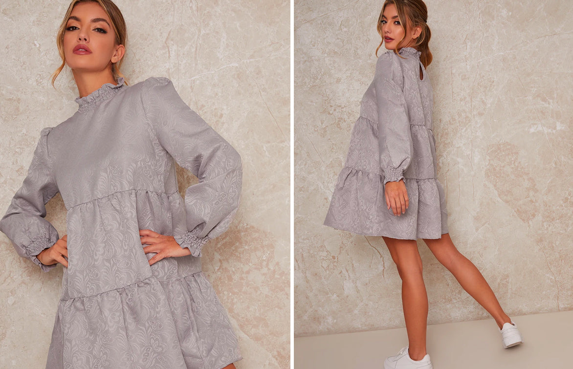 Tiered Smock High Neck Dress with Trainers