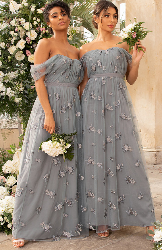 Bridesmaids in Grey Embroidered Dresses