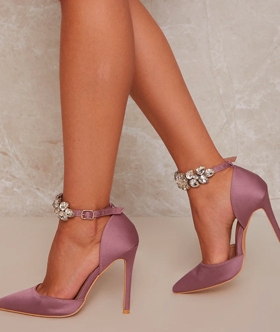 Stiletto Heel Court Shoes with Embellished Ankle Strap in Lilac