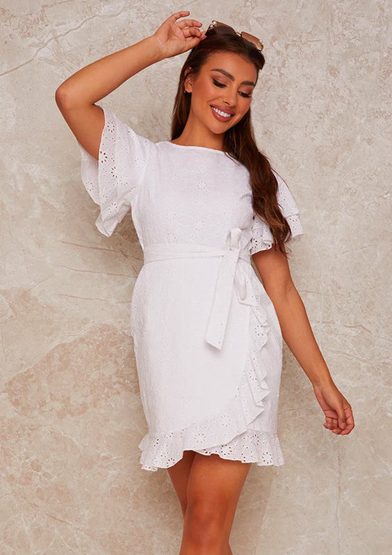 Broderie Anglais Mini Dress with Ruffle Trim in White