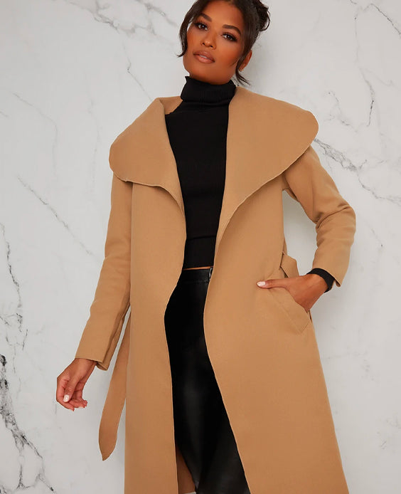 Belted Waterfall Coat Jacket