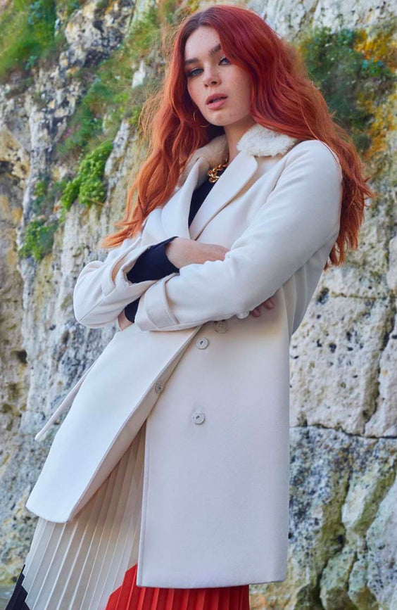 Structured Coat with Button Up Waist Panel in Cream with Fur collar
