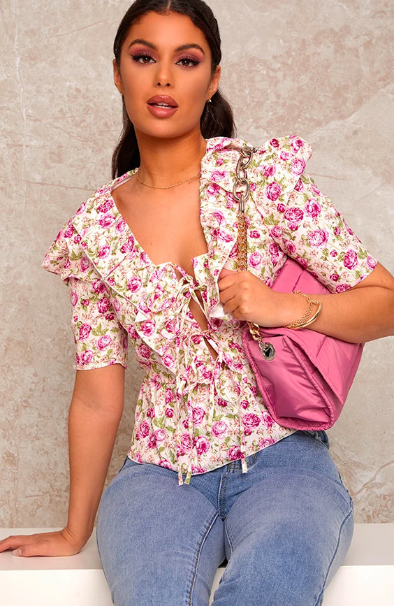 Floral Print Ruffle V Neck Blouse in White