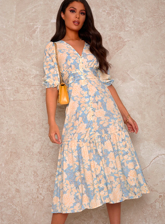 Balloon Sleeve V Neck Button Up Midi Dress in Blue