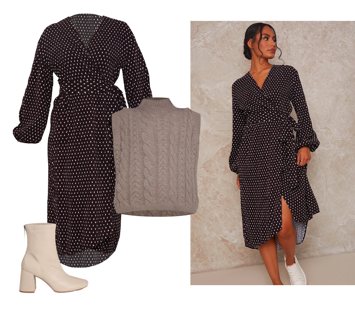 Knitted Vest with Midi Dress Outfit