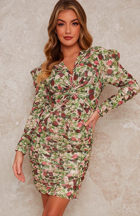Long Sleeve Floral Ruched Midi Dres