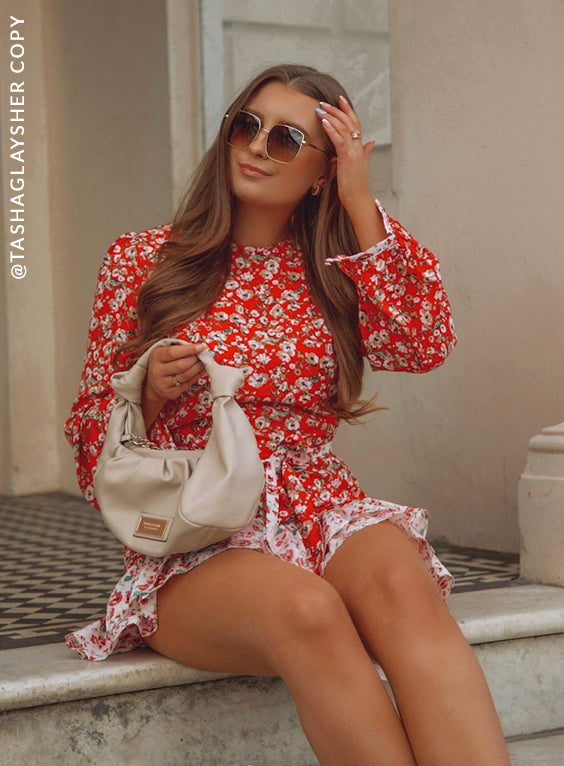 Long Sleeve Floral Mini Dress with High Neckline
