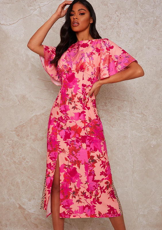 Flutter Sleeve Floral and Animal Print Midi Day Dress in Multi