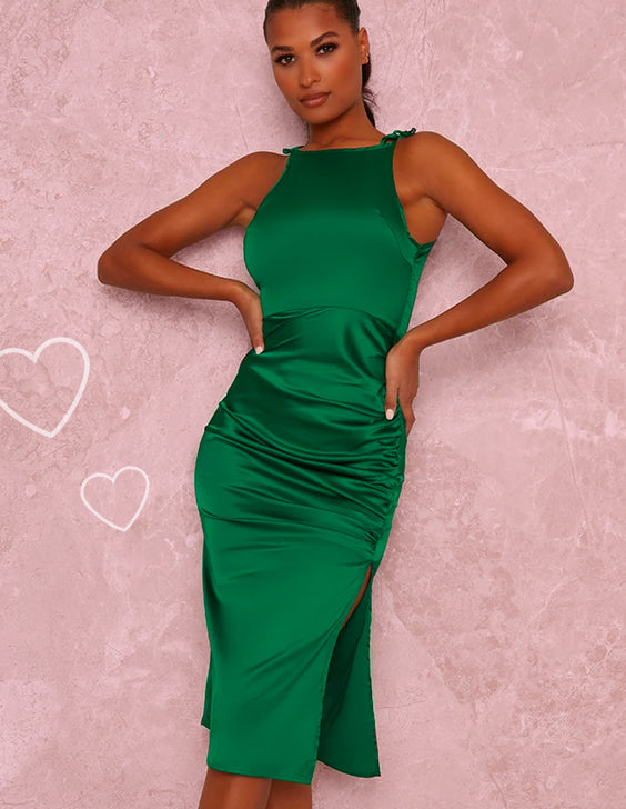 Green Ruched Satin Finish Fitted Midi Dress