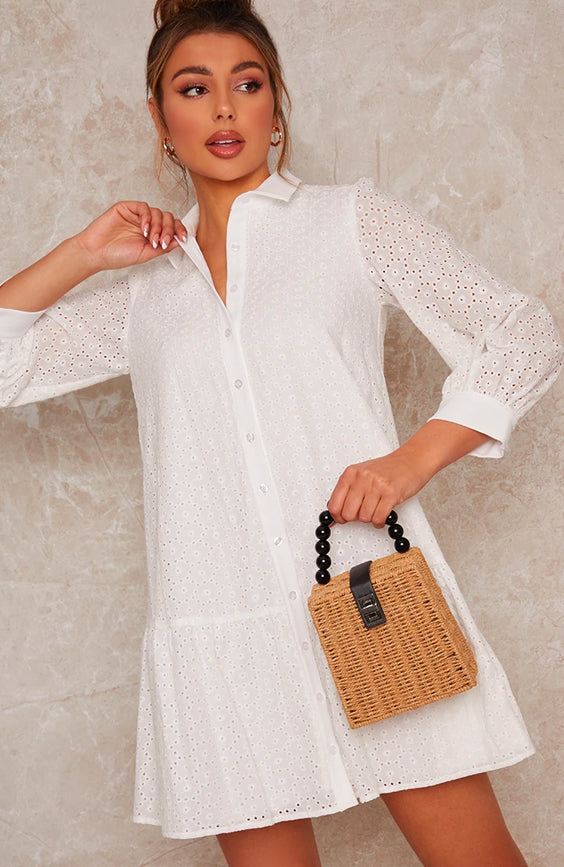 Lace Shirt Mini Day Dress in White