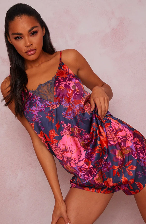 Floral Printed Lace Insert Cami Pyjama Set in Navy