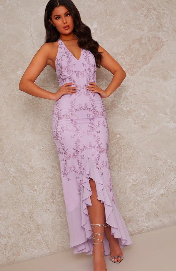 Embroidered Halter Neck Maxi Dress in Purple