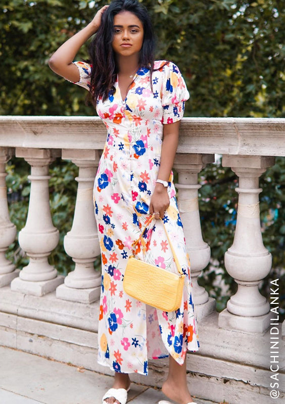 Floral Print Midi Day Dress with Puff Sleeve in Multi