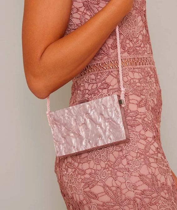Marble Effect Small Shoulder Bag in Brown