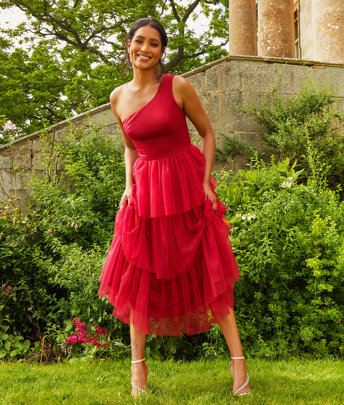 One Shoulder Tulle Tiered Midi Dress in Red