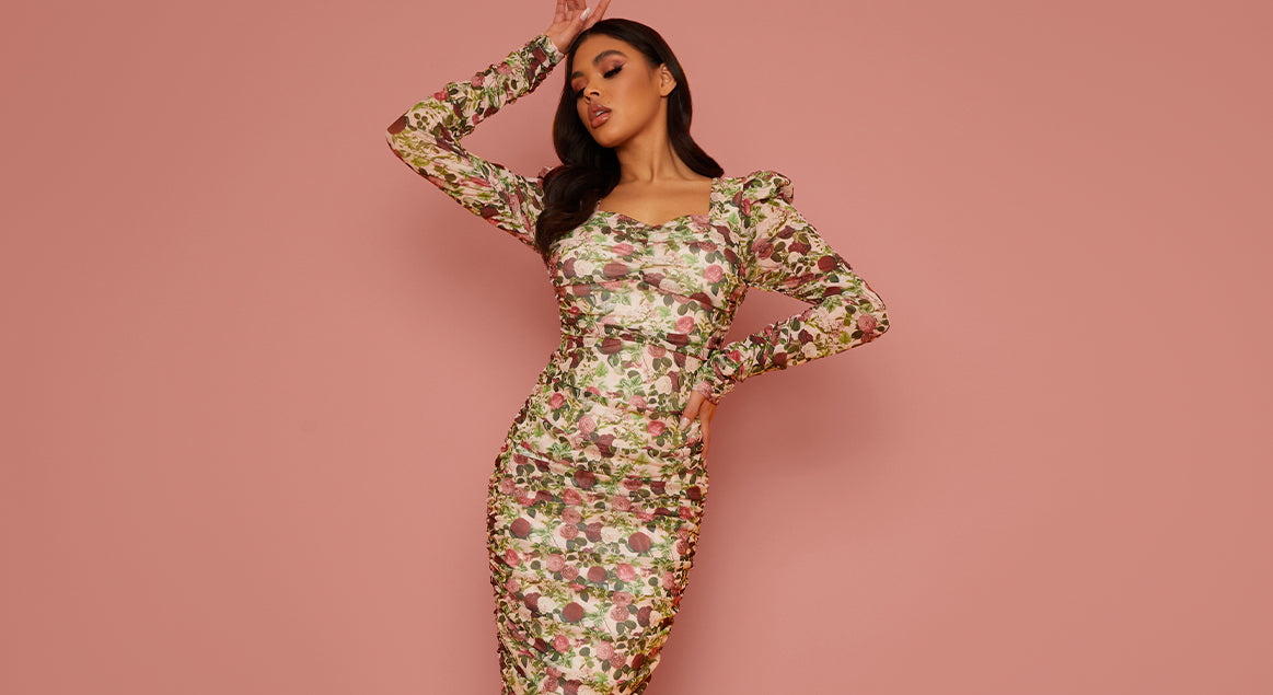 Long Sleeved Floral Ruched Midi Dress
