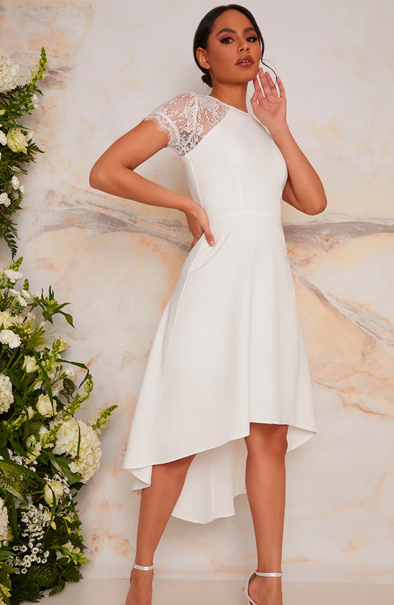 Laced Bridal Dress with Short Sleeves in White