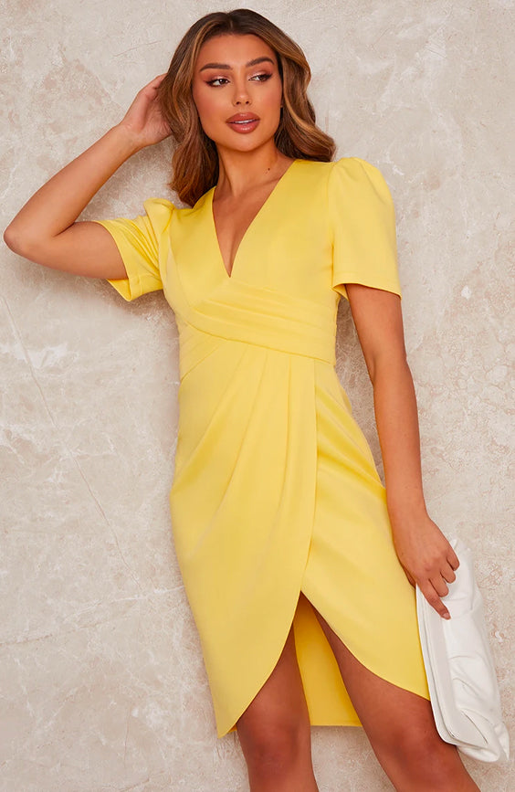 Plunge Neck Bodycon Dress in Yellow