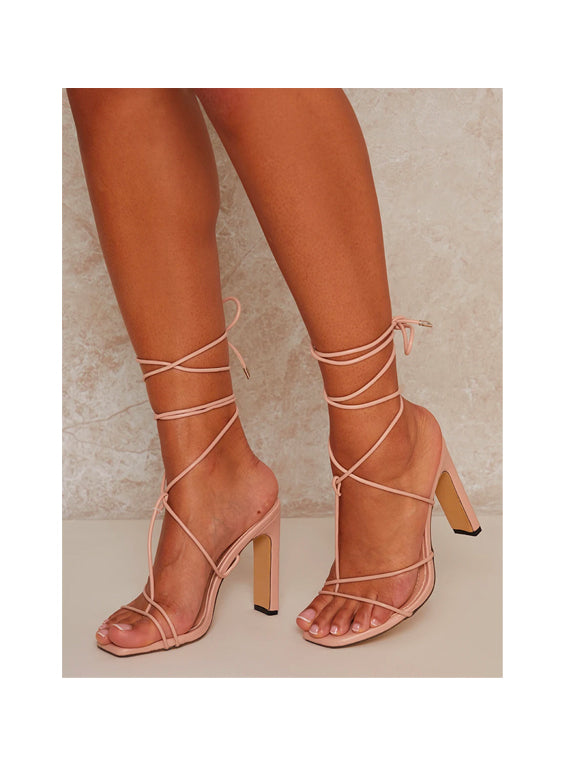 Nude Square Toe Strappy Lace Up Mid Heel Sandal
