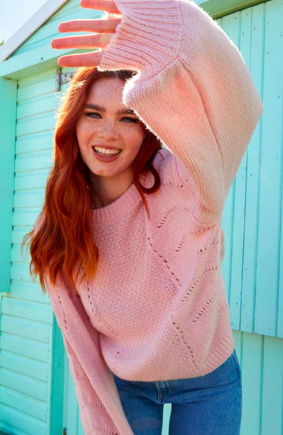 Pointelle Knitted Jumper in Blush