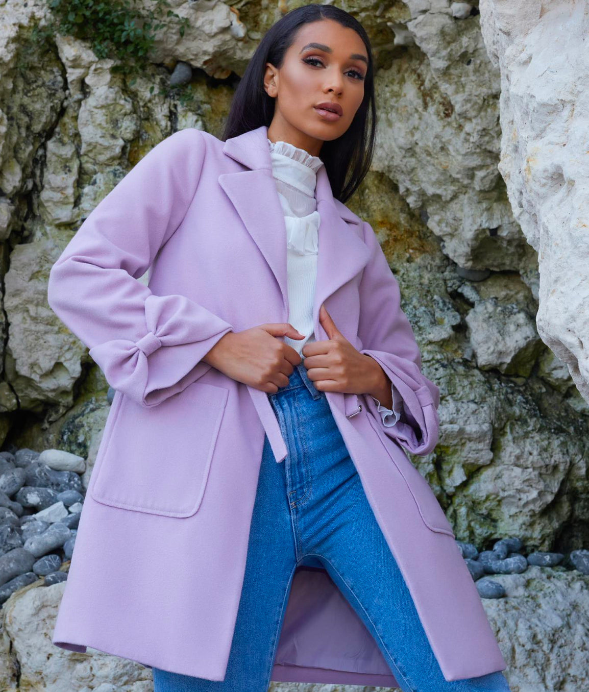 Structured Coat with Bow Sleeves and Belt Detail in Lilac