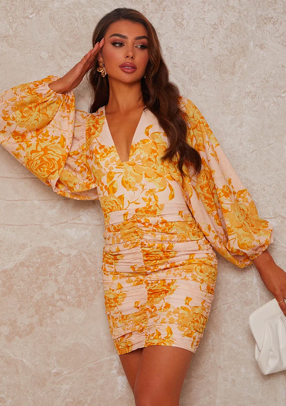 dLong Sleeved Ruched floral Print Mini Dress