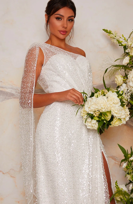 Bridal One Shoulder Sequin Maxi Dress In White