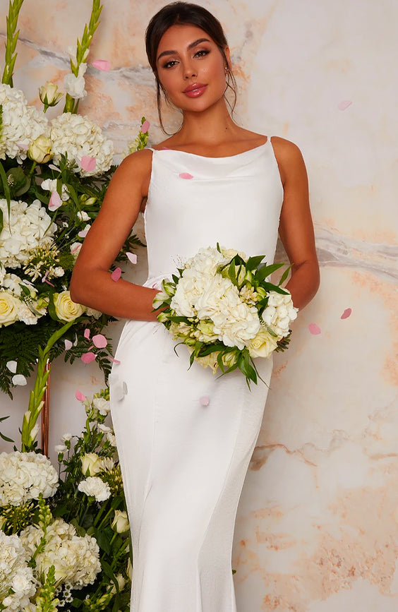 Bridal Wedding Dress with Cowl Neck Design in White