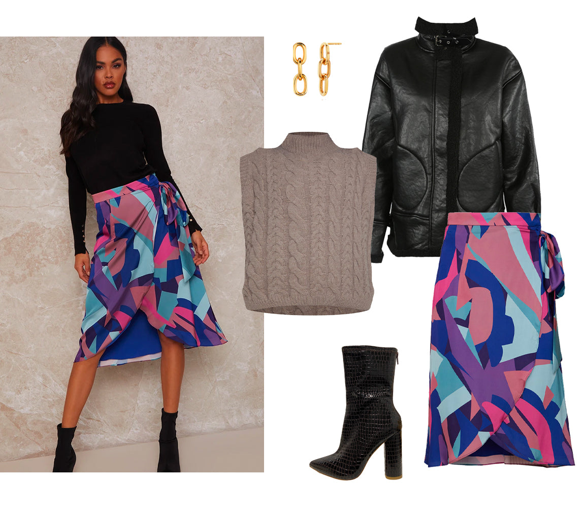 Knitted Vest & skirt outfit
