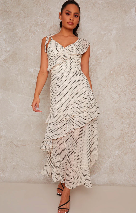 Spot Print Midi Day Dress with Frill Detailing in Cream