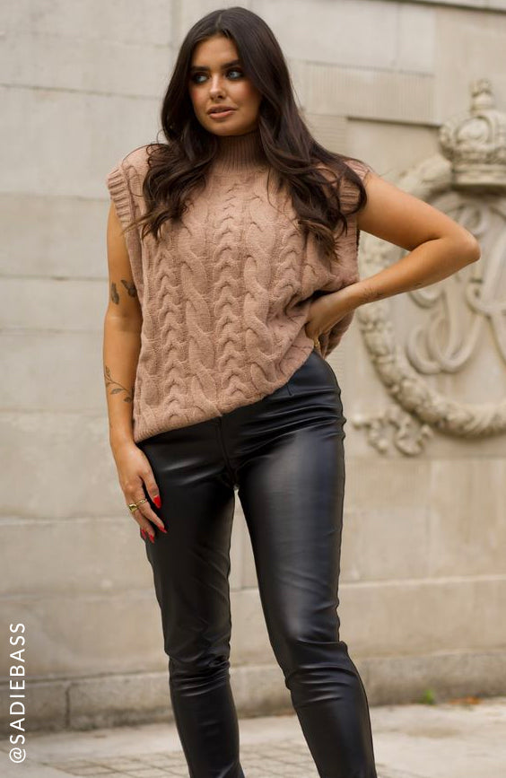 Cable Knit Vest in Tan