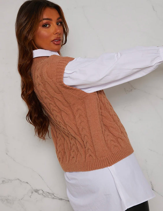 Tan knitted Vest