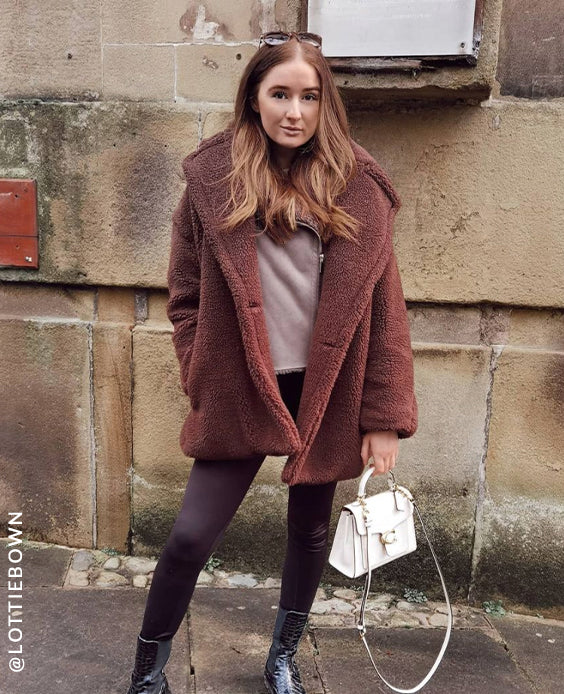 Faux Fur Teddy Coat in Brown