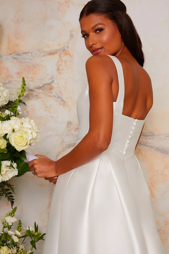 Back of Sleeveless Structured Satin Bridal Dress with Train