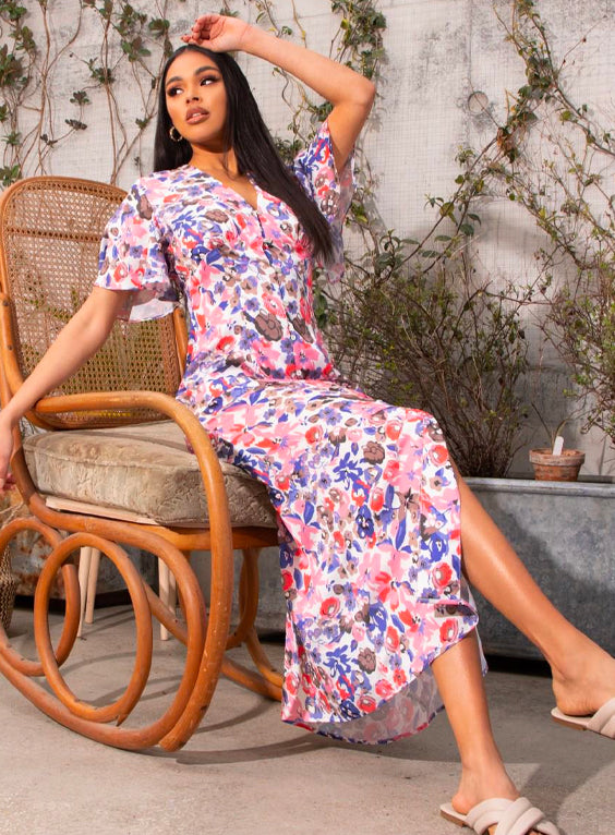 Floral Print Midi Day Dress with Flutter Sleeve in Multi
