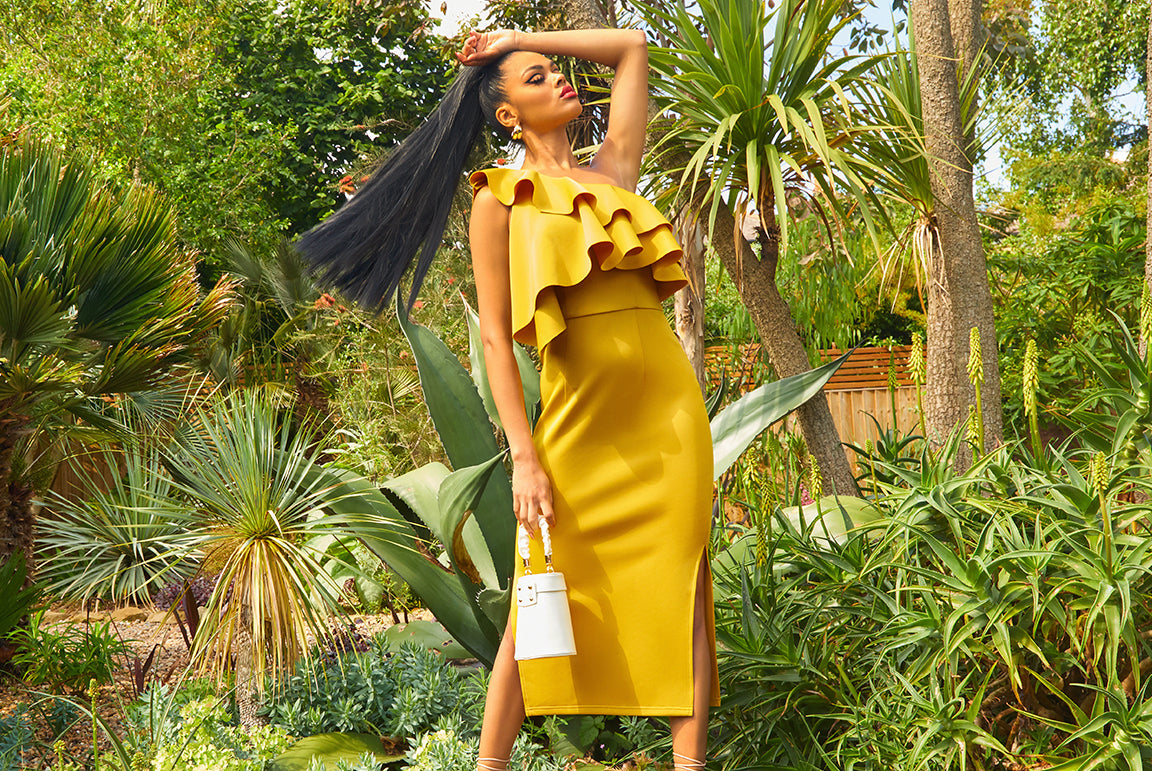 One Shoulder Ruffle Detail Bodycon Dress in Yellow