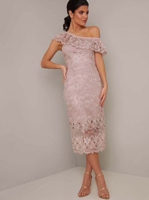 Cross Shoulder Detail Lace Crochet Midi Dress in Pink