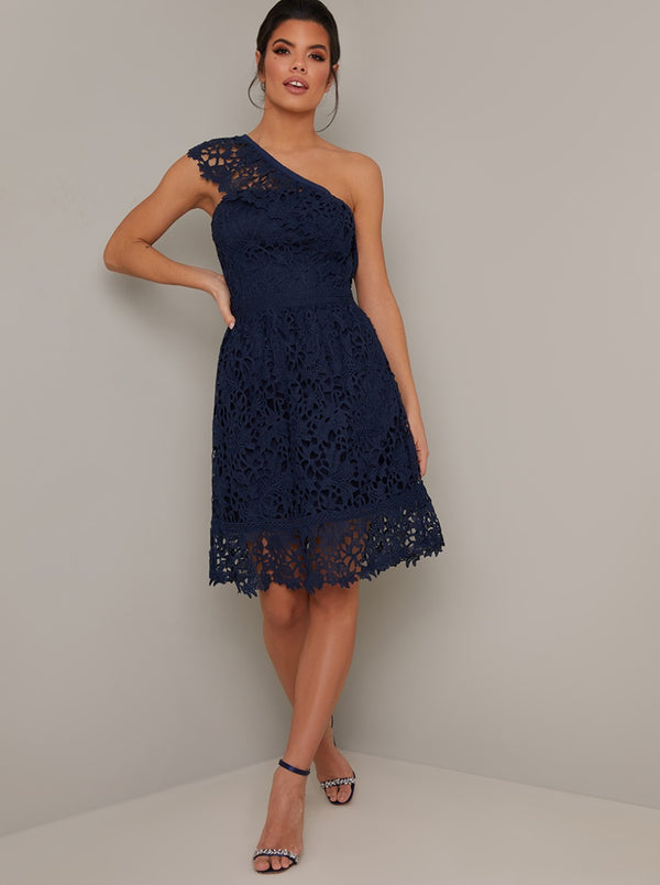 Lace Crochet Cross Shoulder Midi Dress in Blue