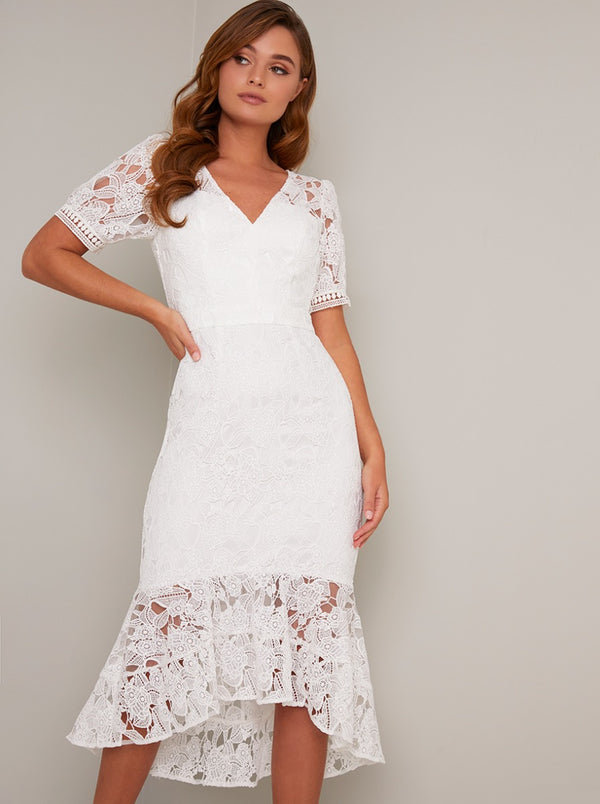 Short Sleeved Crochet Peplum Hem Midi Dress in White