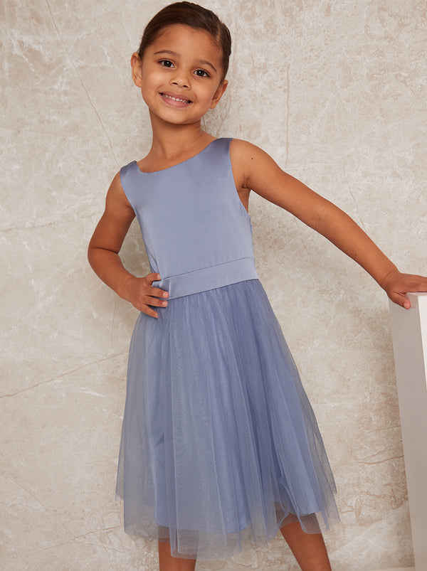 Girls Satin Tulle Skirt Dress In Blue