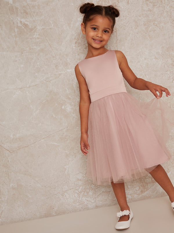 Girls Bow Detail Tulle Flowergirl Dress in Pink