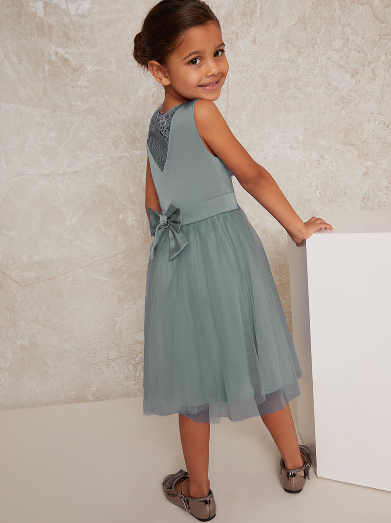 Girls Satin Bodice Tulle Midi Dress in Green