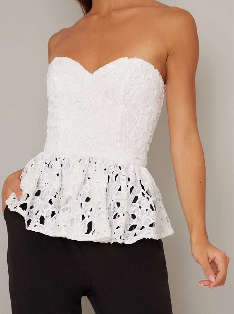 Crochet Lace Peplum Hem Top in White