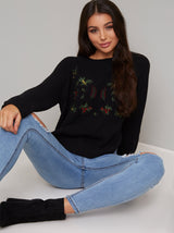 Floral Embroidered Knitted Jumper in Black