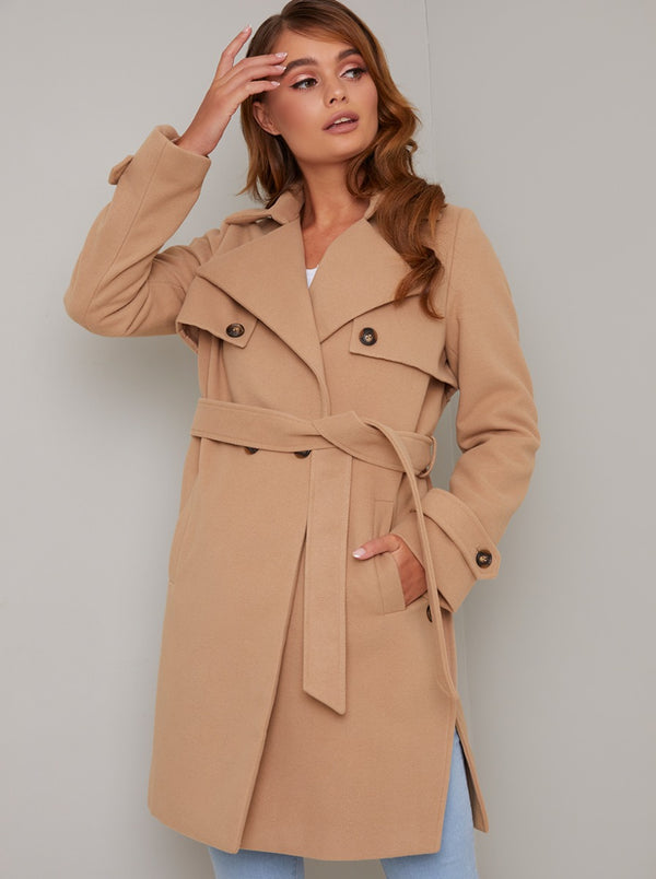 Wrap Design Lapel Coat in Brown