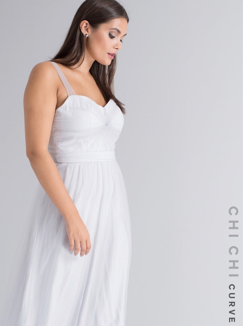 Plus Size Cami Strap Shirred Maxi Dress in Grey