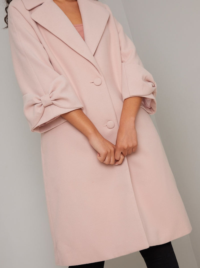 Cuff Detail Long Coat in Pink